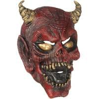 3//4 Red Zombie Adult Mask with Fleshless Face